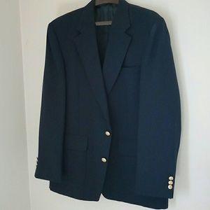 Men's navy blue linen blazer